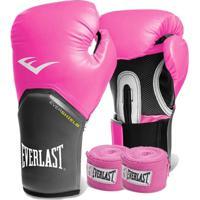 Kit Boxe Everlast - Luva Rosa 12Oz + Bandagem Rosa