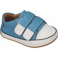 Tênis Em Couro Com Velcro- Azul Claro & Brancokimey