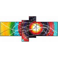 Super Quadro Painel Decorativo Abstrato Com 4 Peças Multicor