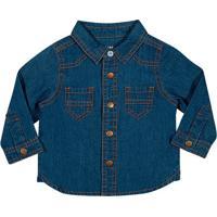 Camisa Jeans Com Botões - Azul Escurotip Top