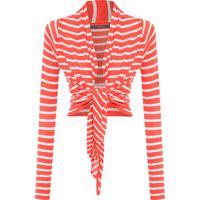 Blusa Feminina Tricot Cachequer Listrada - Laranja