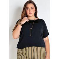 Blusa Plus Size Preta Com Detalhe Em Tule