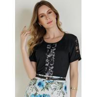 Blusa Preta Com Detalhes Em Renda Moda Evngélica