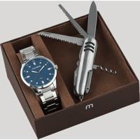 Kit De Relógio Analógico Mondaine Masculino + Canivete - 53599G0Mvne2K Prateado - Único