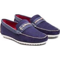 Mocassim Dockside Sapato Âncora Camurça Dmt Masculino - Masculino-Azul