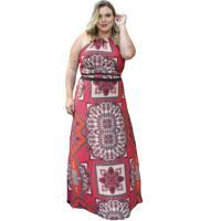 Vestido Soellas Boutique Longo De Crepe Estampado Vermelho