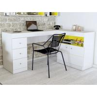 Mesa Para Computador Job Branco Fosco/Amarelo - Caemmun