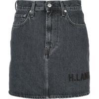 Helmut Lang Saia Jeans Com Logo Bordado - Cinza