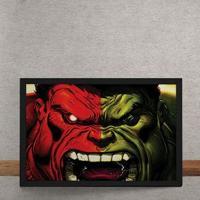 Quadro Decorativo Hulk E Hulk Vermelho Marvel 25X35