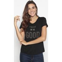 "Blusa ""Focus On The Good""- Preta- Cavallaricavalari"