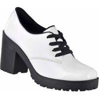 Oxford D&R Shoes Verniz Tratorada Feminina - Feminino-Branco