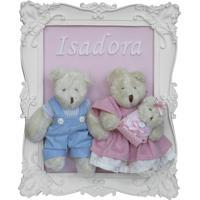 Porta Maternidade Família Mamãe Papai Bebê Urso Ursinho Rosa Potinho De Mel - Kanui