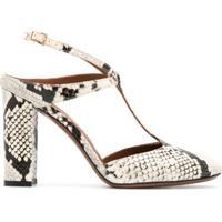 L'Autre Chose Sapato Com Estampa Pele De Cobra E Salto Alto - Branco