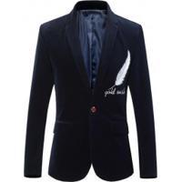Blazer Masculino Design Pena Bordado - Azul Escuro