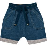 Bermuda Jeans Com Pespontos- Azul- Duduka -Primeduduka