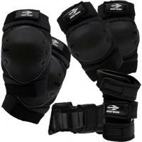 Kit De Proteção Esportivo Mormaii Skate E Patins Esportes Radicais - Unissex-Preto
