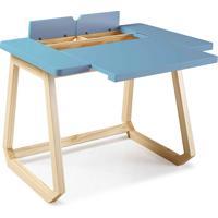 Escrivaninha De Madeira Maciça Para Escritório Hush 94X77,5X73,5Cm - Taeda E Cor Azul Bebe