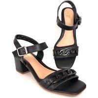 Sandália Salto Grosso Lolitta Fashion Corrente Preta