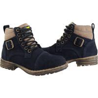 Bota Coturno Bell Boots Couro Macia Casual Conforto Dia A Dia Azul Marinho - Kanui
