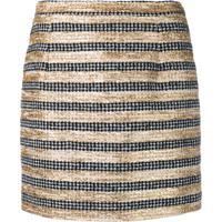 Alessandra Rich Striped Tweed Mini Skirt - Preto