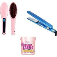 Kit 3Pçs Forever Liss Prancha + Escova Elétrica + Desmaia Cabelo Rosa/Azul