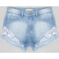 Short Jeans Infantil Com Renda E Barra Desfiada Azul Claro
