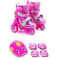 Kit Patins Infantil 31 Ao 34 Princesinha Lory Unik Toys Rosa
