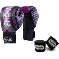 Kit Boxe Muay Thai Fheras New Top Luva + Bandagem Iron 002