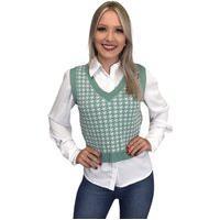 Colete Pulôver Blusa Feminino Trico Lã Trança Ótima Qualidade Verde