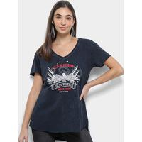 Camiseta T-Shirt Carmim Iron Wheels Estonada Gola V Feminina - Feminino-Marinho