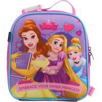 Lancheira Princesas®- Roxa & Rosa Claro- 22X20X8Cm