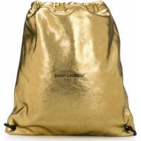 Saint Laurent Mochila Com Efeito Metálico - Dourado