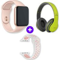 Kit Smartwatch Iwo10 44Mm Dourado + Headphone Bluetooth P47 - Verde Verde