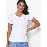 Camiseta Abstrata Com Pespontos - Branca & Azulwilson