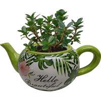 Cachepot Urban Home De Cerâmica Verde Teapot Green Leaves 40393 N