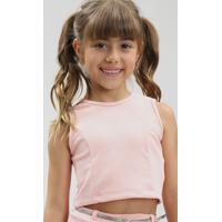 Conjunto Infantil De Regata Cropped + Short Saia Com Cinto Rosa