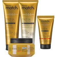 Combo Match Fonte Da Nutrição Fios Grossos: Shampoo + Condicionador + Máscara Capilar + Creme Para Pentear