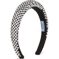 Prada Headband De Cetim Com Aplicação De Cristais - Preto