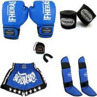 Kit Boxe Muay Thai Trad - Luva Bandagem Bucal Caneleira Shorts - Unissex
