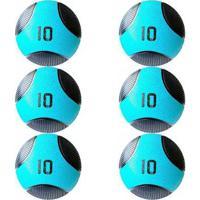 Kit 6 Medicine Ball Liveup Pro F 10 Kg Bola De Peso Treino Funcional - Unissex