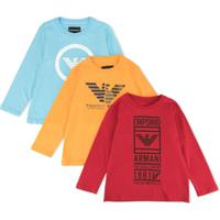 Emporio Armani Kids Conjunto 3 Moletons Com Estampa De Logo - Azul