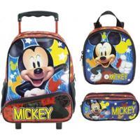 Kit Mochila Xeryus Mickey Mouse De Rodinhas Com Lancheira E Estojo - Unissex-Vermelho