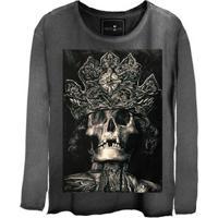 Camiseta Estonada Manga Longa King Skull