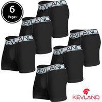 Cuecas Boxer Kevland - Kit Com 6 Peças Microfibra Preta Elástico Prata Preto