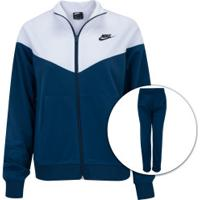 Agasalho Nike Sportswear Track Suit Pk - Feminino - Azul Esc/Branco