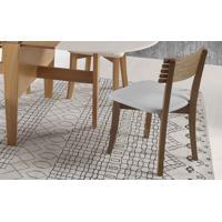 Cadeira Para Sala De Jantar Boni Ripada - Verniz Capuccino - Tec. 154B Cinza Claro - 42X49X82 Cm