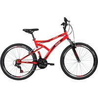Bicicleta Lazer Caloi Alpes Aro 26 - Susp Dianteira - 21 Velocidades - Aro De Parede Dupla - Vermelho