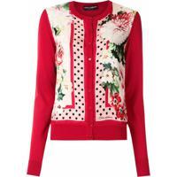 Dolce & Gabbana Cardigan Com Estampa Floral - Vermelho