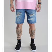 Bermuda Jeans Reta Com Algodão + Sustentável Azul Médio