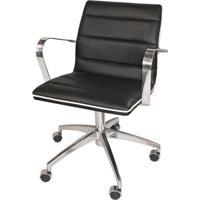 Cadeira De Escritório Diretor Estrela Couro Sintético Preto